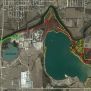 South Iola Trails overview map, showing gravel trails in red, singletrack trails in yellow, and Connector Trail in green.