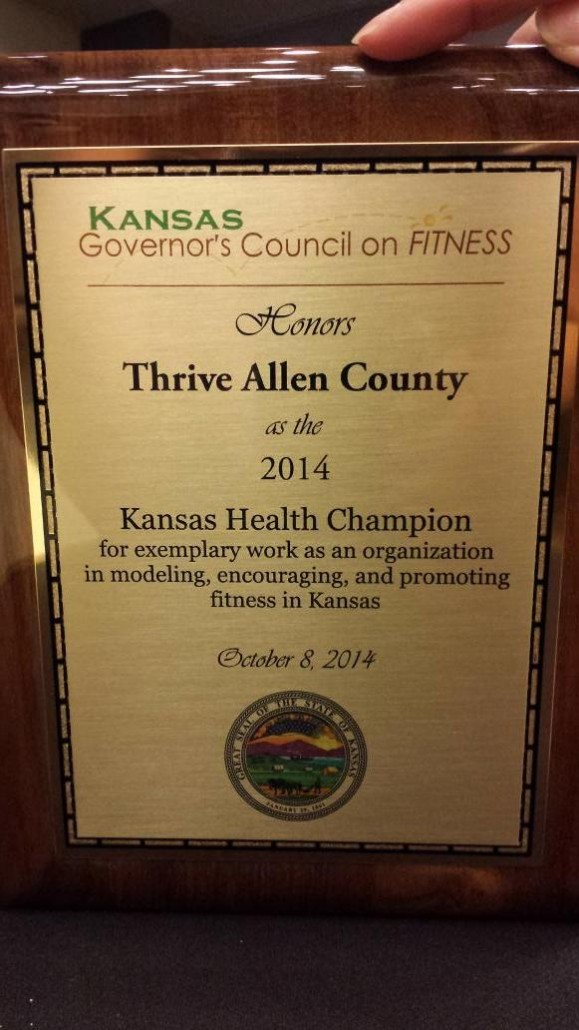 Kansas Health Champion Plaque 2014