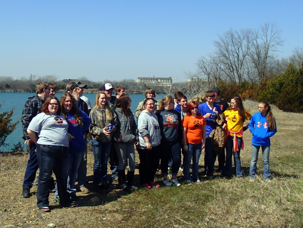 Some of the Upward Bound volunteers alongside the quarry lake at Lehigh Portland Trails.